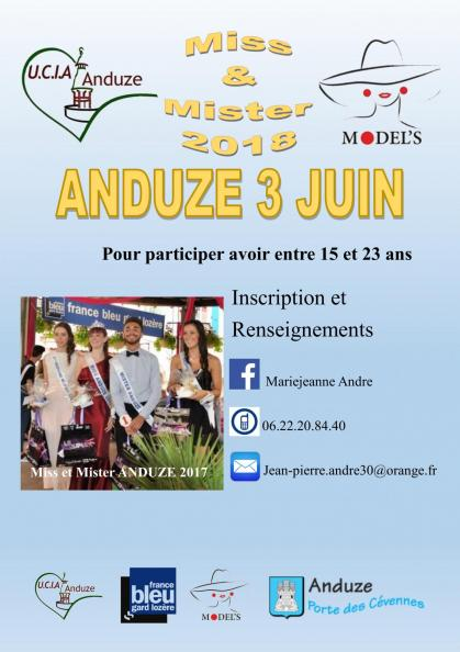Affiche inscription miss et mister 2018