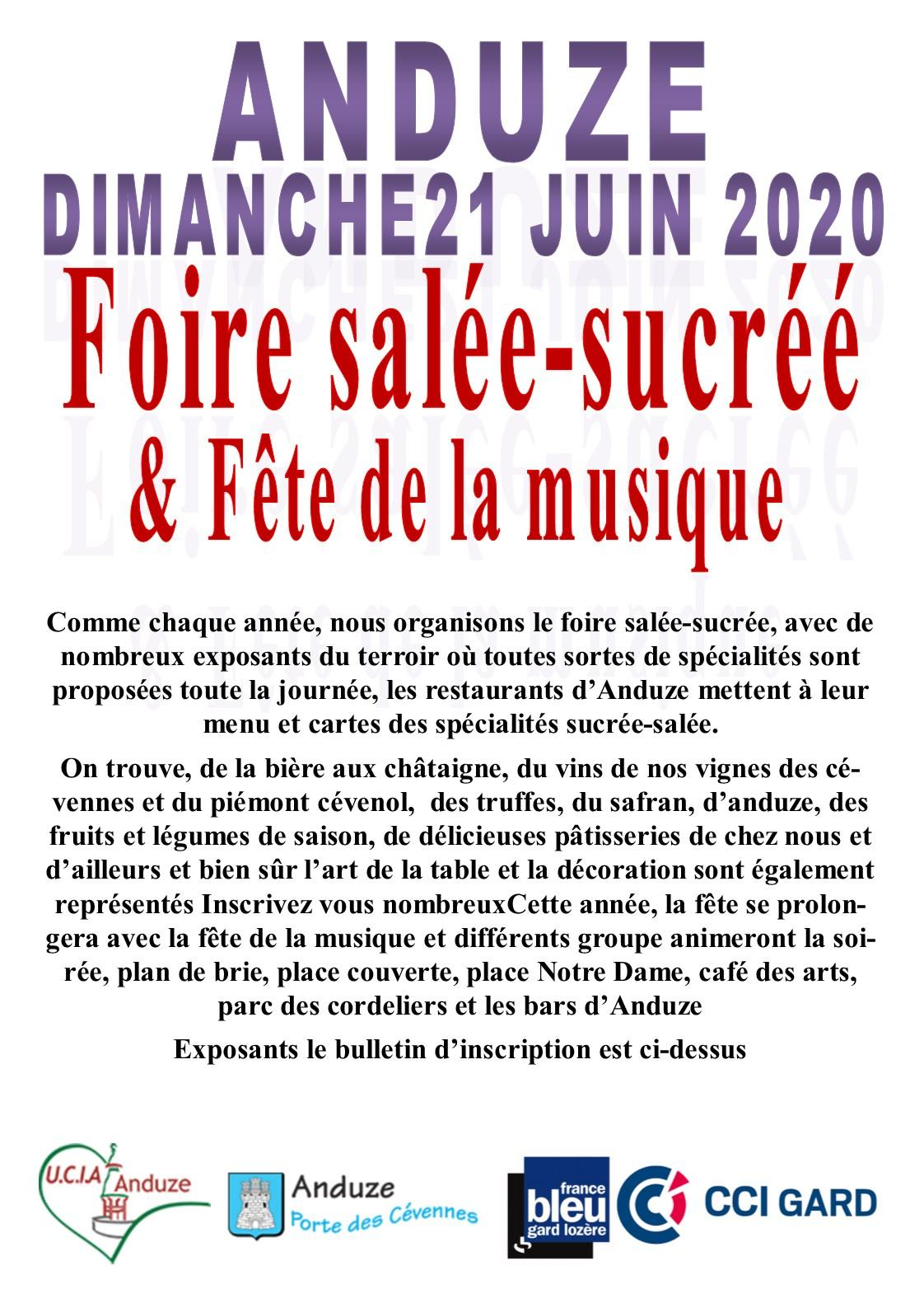 Affiche inscription sale sucree 21 juin 2021
