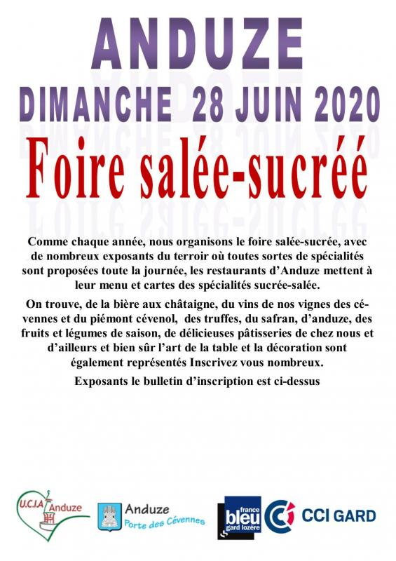 Affiche inscription sale sucree 28 juin 2020
